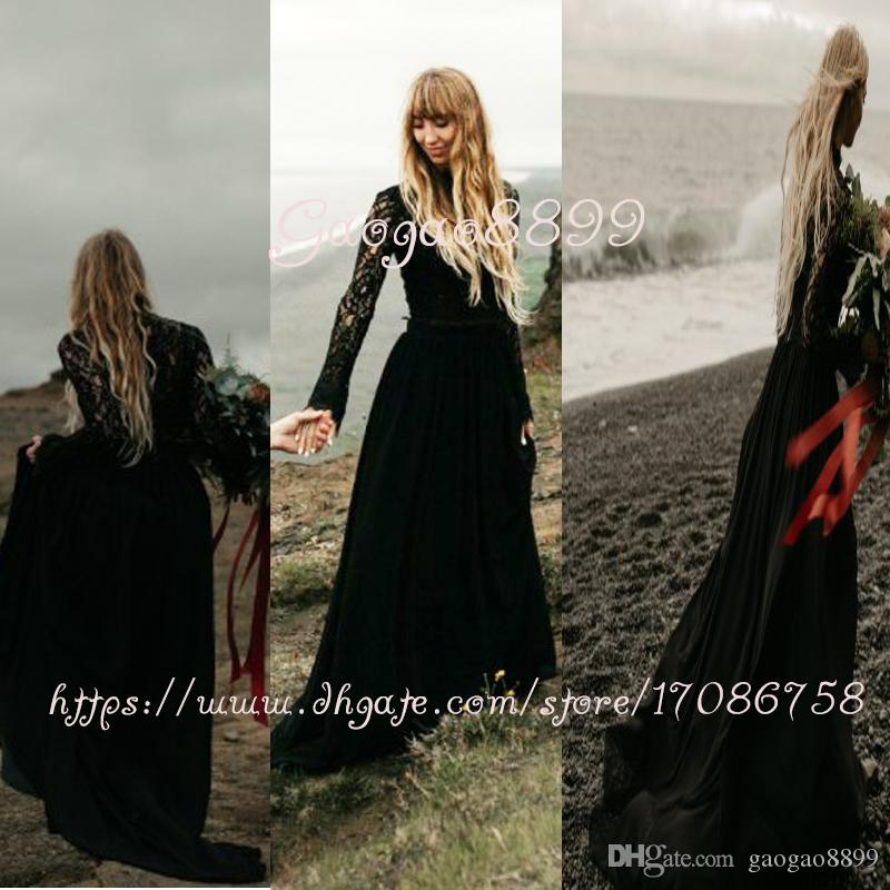 Vintage Lace two pieces Gothic black hippie Wedding Dress 2019 long sleeve high neck chiffon boho garden beach Bridal Gowns detachable train