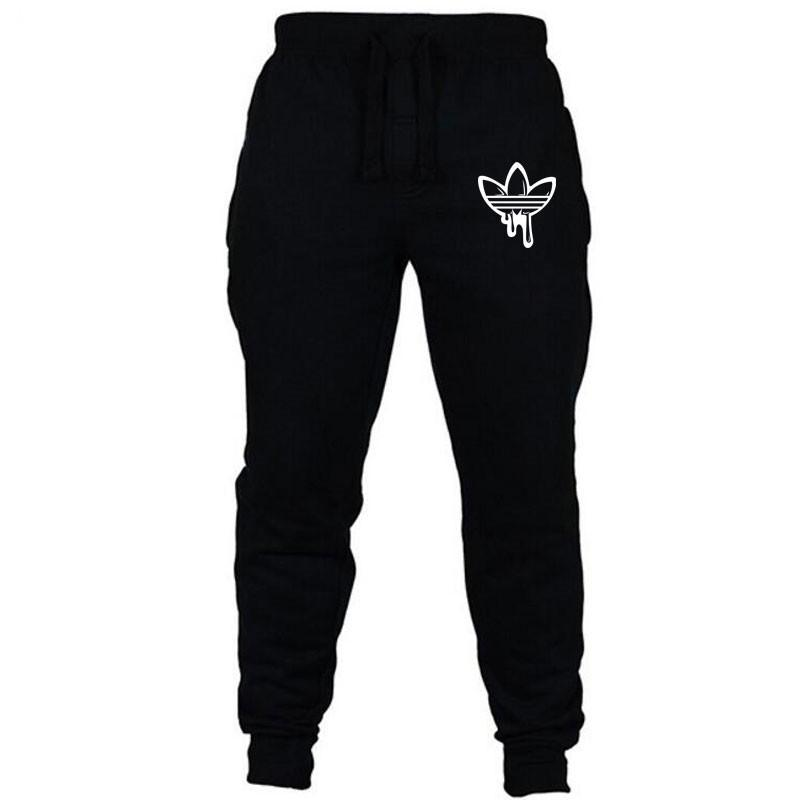 Men Black Doodle Print Trousers Jogger Men Pants Casual Slim Fit Men Fitness Sweatpants Big Size