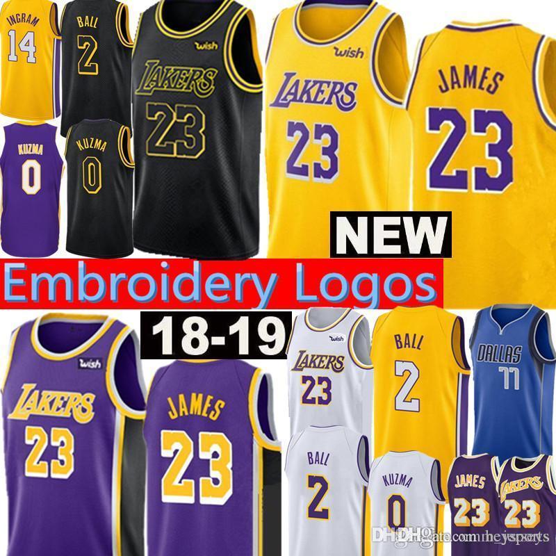 bc74eb5210b 2018 New 23 LeBron James Los Angeles Lakers Jersey 2 Lonzo Ball 0 Kyle  Kuzma 14 Brandon Ingram 24 Kobe Bryant 8 Jerseys From Heysports, $20.92 |  DHgate.Com