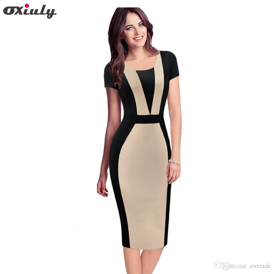 9b8c05d445c73 Oxiuly Womens Elegant Optical Illusion Colorblock Contrast Modest Slim Wear  to Work Business Casual Party Sheath Pencil Dress #396872