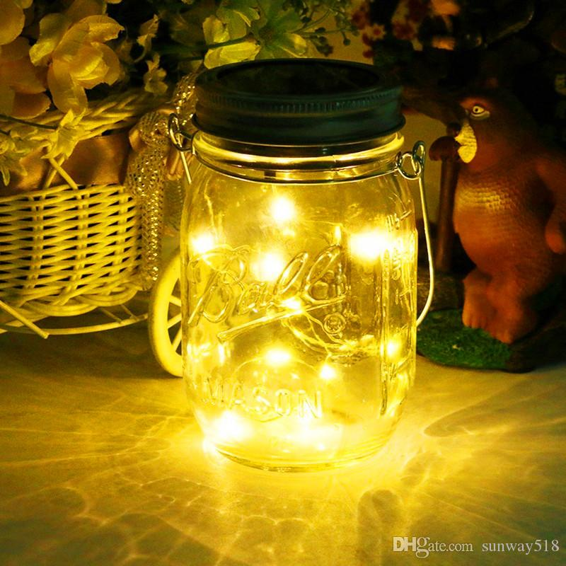 Solar Light 20Leds String Glass Lantern Outdoor Hanging Decorative String Christmas Halloween Fairy Lamp for Patio Garden Party