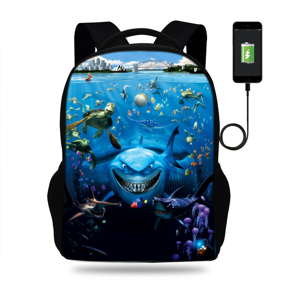 a1e8d135bd06 2019 Style cartoon Schoolbags FindingBags USB Charger laptop Backpack  Teenagers Children Backpacks Girls travle Bag