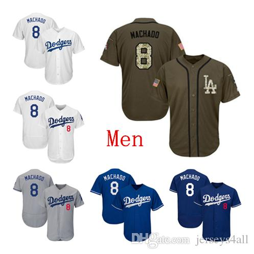 new style 4067a 30c6d Mens Los Angeles Dodgers Baseball Jerseys 8 Manny Machado Jersey White Blue  Gray Grey Green Salute Players Weekend All Star Team Logo