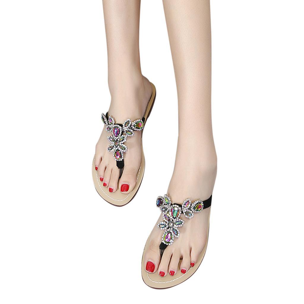 6508acea7 Summer Women Fashion Open Toe Sandals Casual Rhinestone Flip Flops Beach  Slipper Women Open Toe Breathable Beach Sandals  y4 Winter Boots For Women  Boots ...