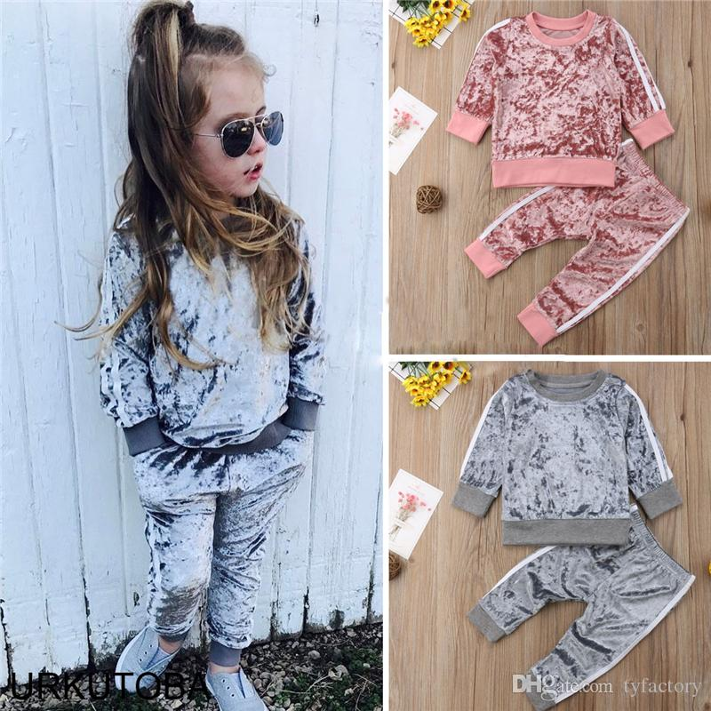 0a65018ad0fe3 2019 2019 Kid Baby Boys Girls Sports Striped Velvet Suit Autumn Spring Outfits  Set High Quality Pinik Gray Colors From Tyfactory, $7.26 | DHgate.Com