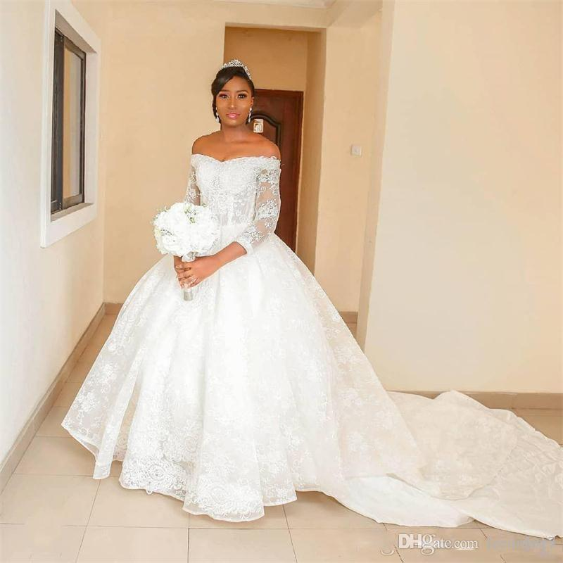 1fe9839e48c 2019 African Lace Ball Gown Wedding Dresses Off The Shoulder 3/4 ...