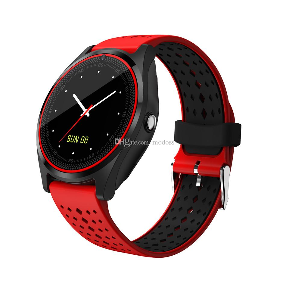 V9 Smart Watch with Camera Heart Rate Monitor Bluetooth Smartwatch SIM Card Wristwatch for Android Phone with Retail Package