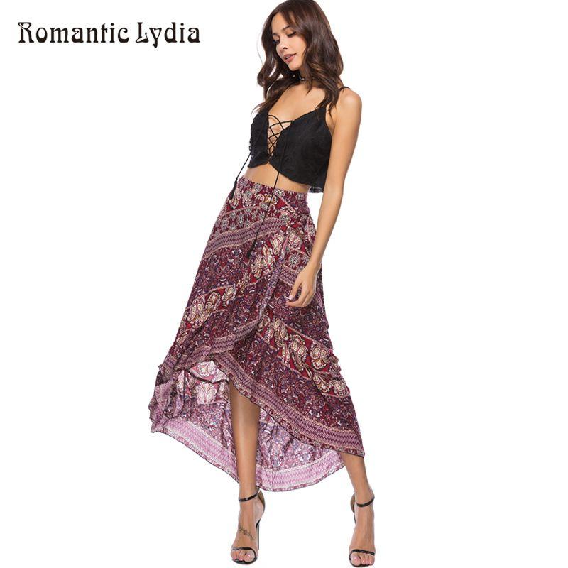 7a043b7dcb 2019 2018 Women Summer Boho Floral Print Pleated Long Maxi Skirt ...