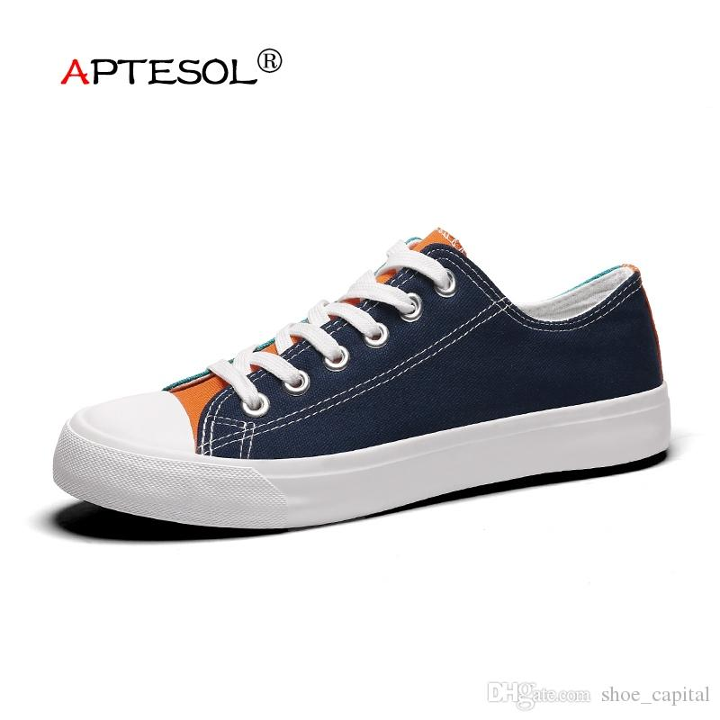 6e60a01e24 APTESOL Men's Fashion Canvas Vulcanize Shoes Summer Breathable Lightweight  Lace-Up Sneakers Men Comfortable Non-Slip Flat Shoes #129547
