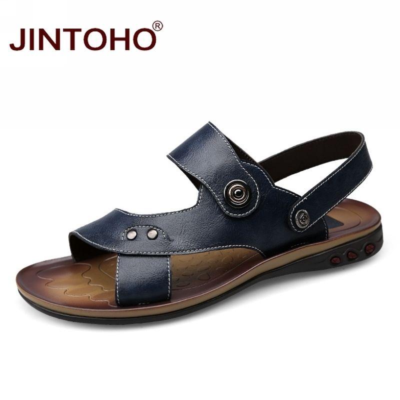 1980cf2875 Compre JINTOHO Couro Genuíno Tamanho Grande Sapatos Masculinos Moda ...