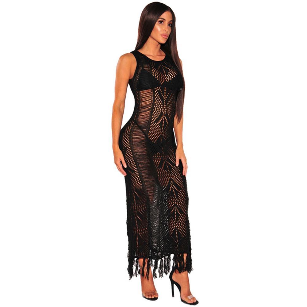 85a6938b000f9 Sexy Women Knitted Bikini Dress Tassel Fringe Hollow Out Swimwear Swimsuit  Beachwear 2018 Summer Ripped Tunic Dress Vestidos Online with $46.35/Piece  on ...
