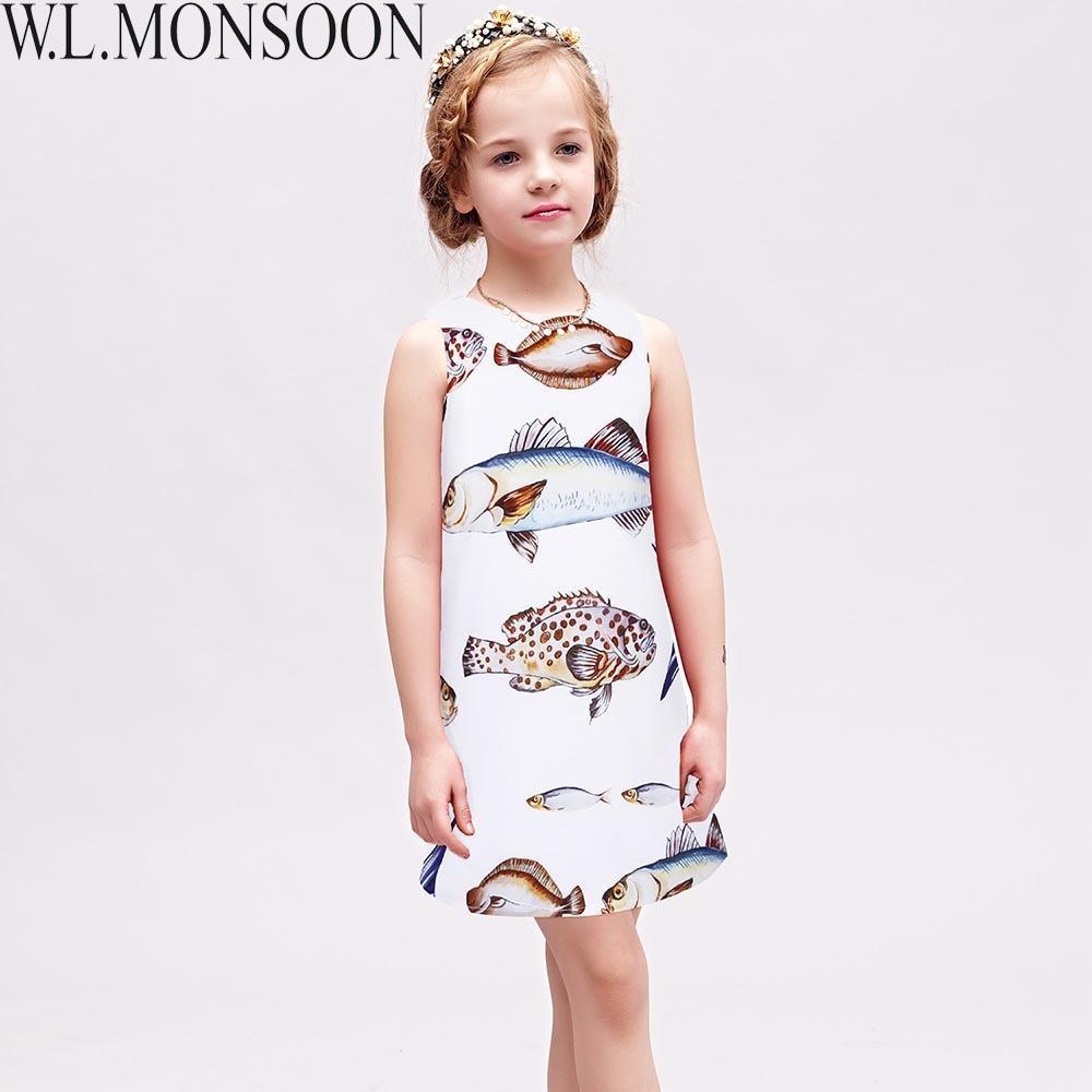 1a56b95bd5887 Acheter W.L.MONSOON Filles Robes Motif De Poisson Princesse Robe D Été  Enfants Costumes Sans Manches Marque Enfants Vêtements Robe Fille Enfant De   37.18 Du ...