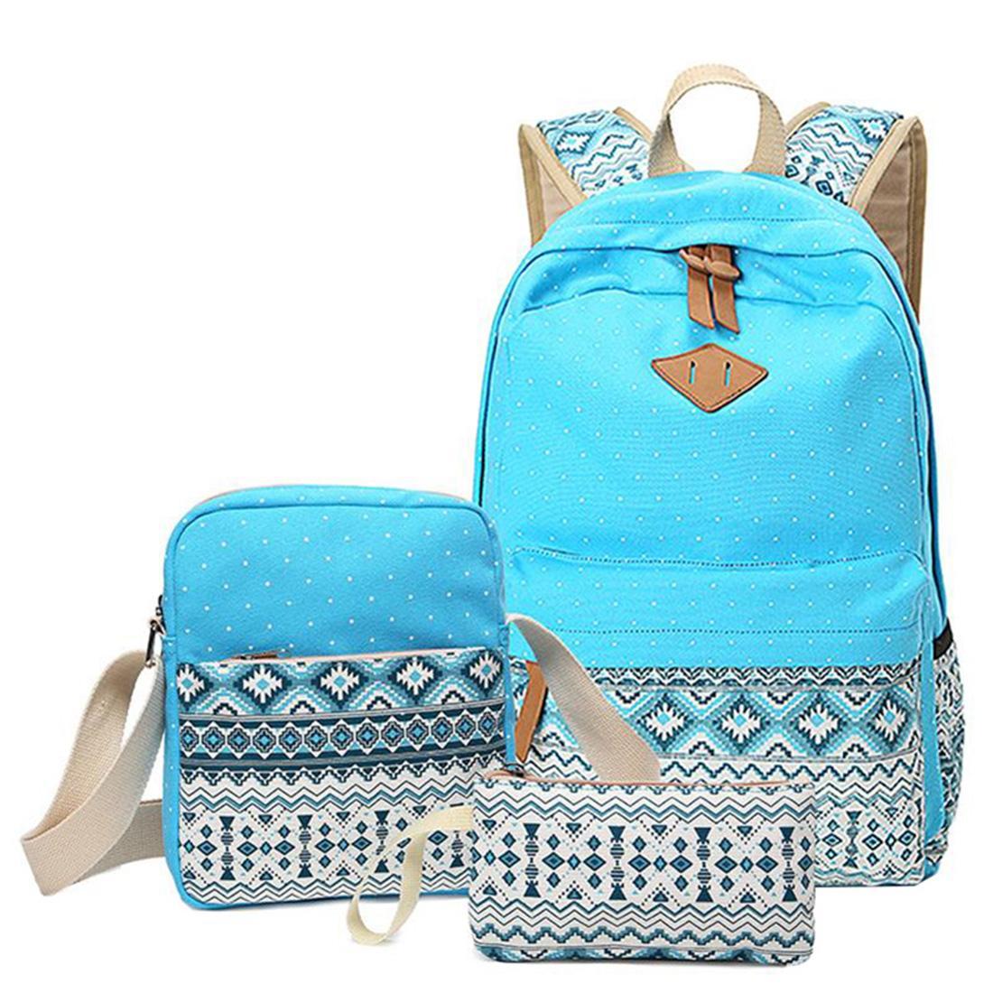 Polka Dot Printing Women Backpack Cute Lightweight Canvas Bookbags Middle High School Bags for Teenage Girls