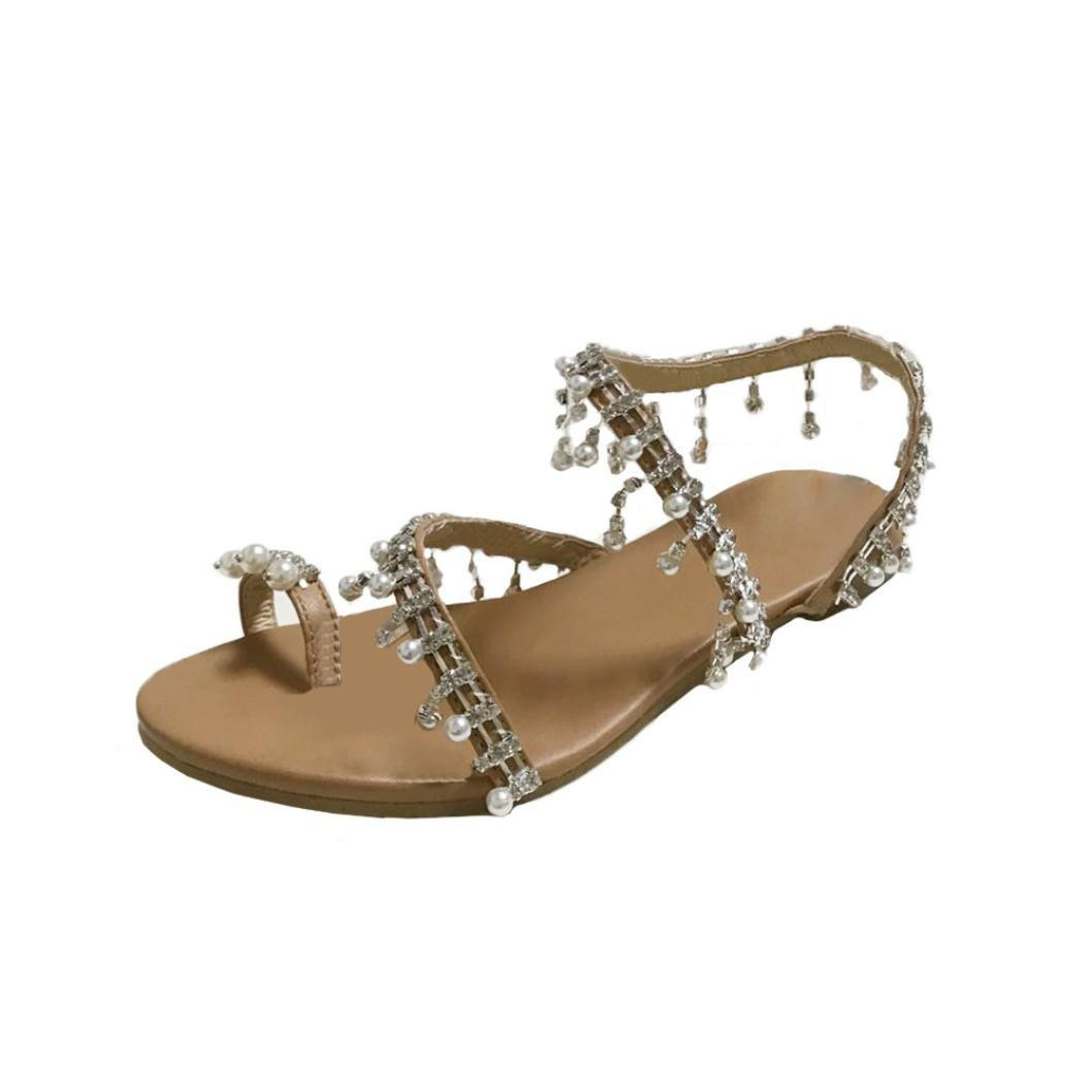 895f01682d Womens Summer Bohemia Flat Sandals Beads Pearl Beach Clip Toe Flip Flops  Flat Bottom Sandals Shoes
