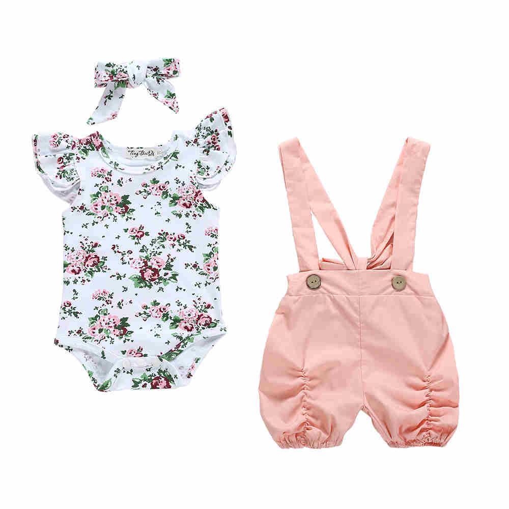 ec0f4a395976e0 Verão 2019 recém-nascido infantil conjuntos de roupas de bebê meninas  babados floral romper calções calças flor bonito macacão conjunto de ...