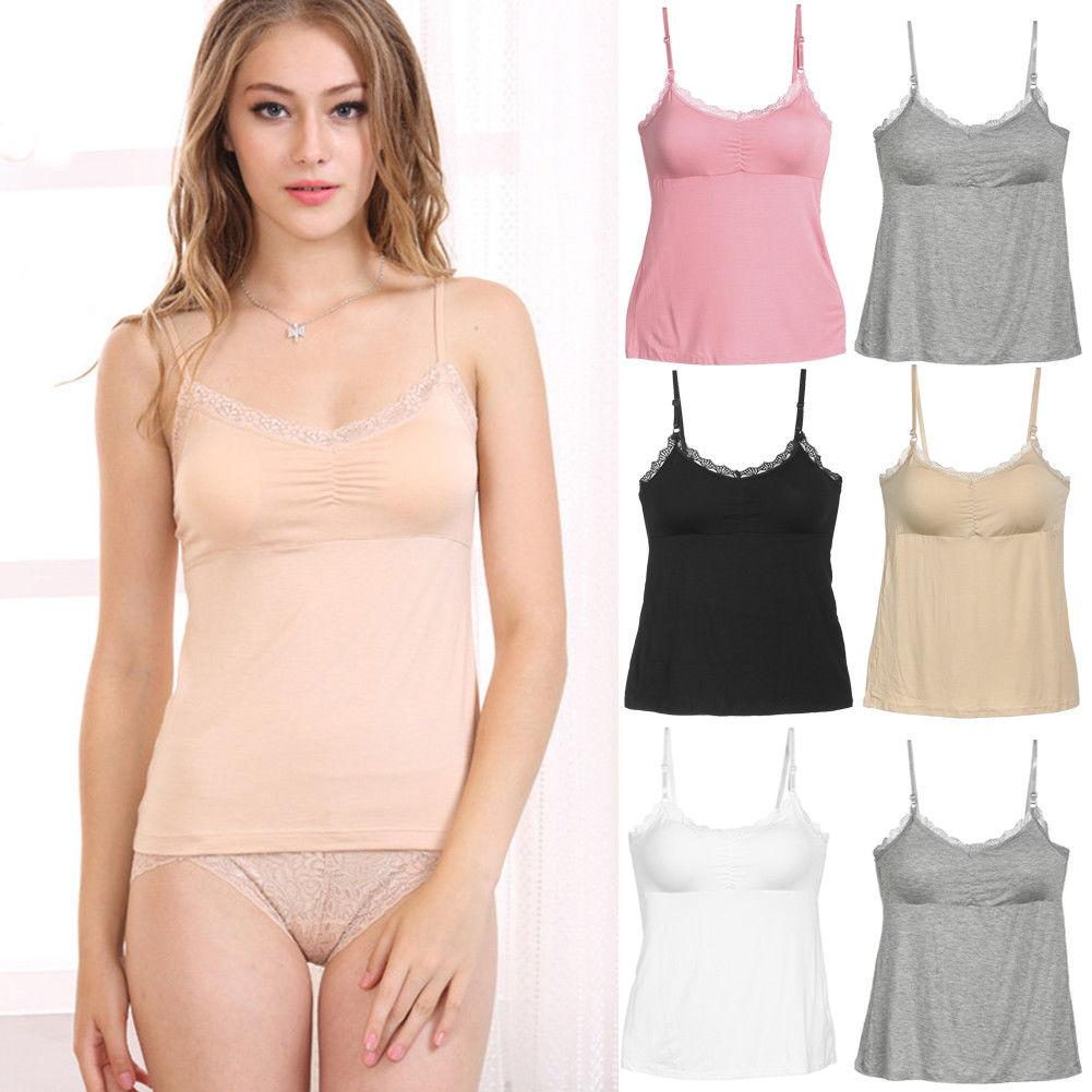 14770579cfbe7 Thefound 2019 Fashion Women Ladies Solid Sexy Plain Cotton Sleeveless Top  Lace Trim Neck Designer Tank Strappy Camisole