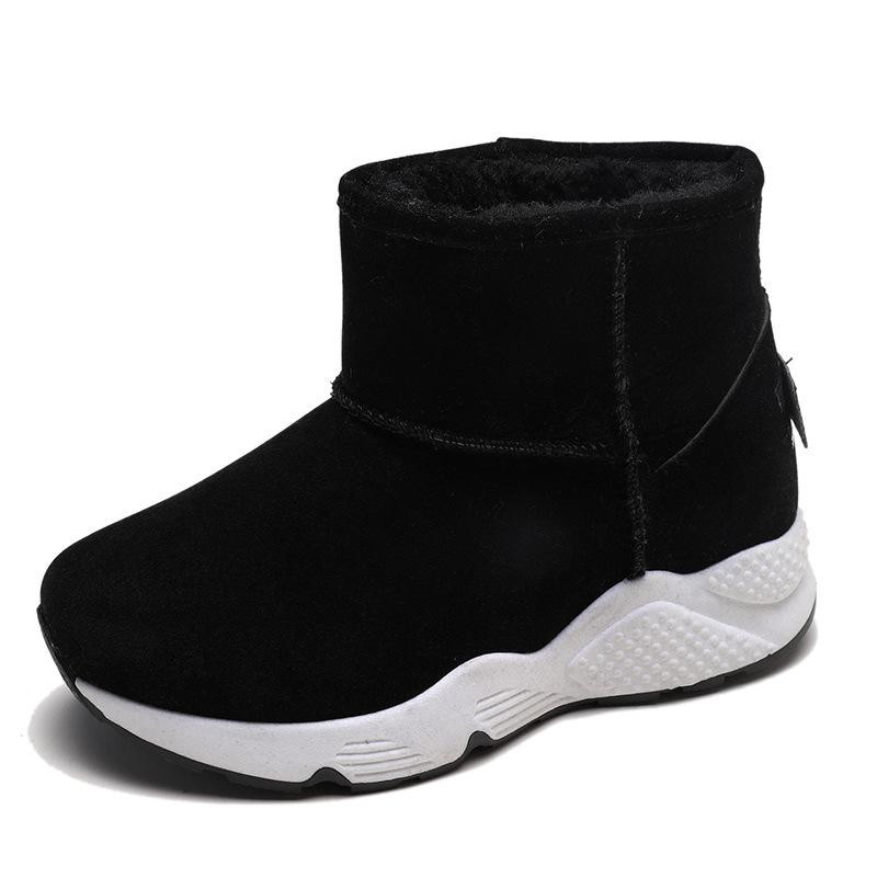 56017b2b657 Snow Boots Female Winter 2019 New Round Head Thick Bottom Warm Shoes Korean  Edition Leisure Skid Proof Student Low Canister Cotton Boots Girls Boots  Black ...