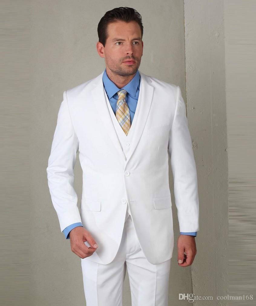 New Arrival White Groom Tuxedos Notch Lapel Groomsmen Mens Wedding Dress Popular Man Jacket Blazer 3 Piece Suit(Jacket+Pants+Vest+Tie) 875