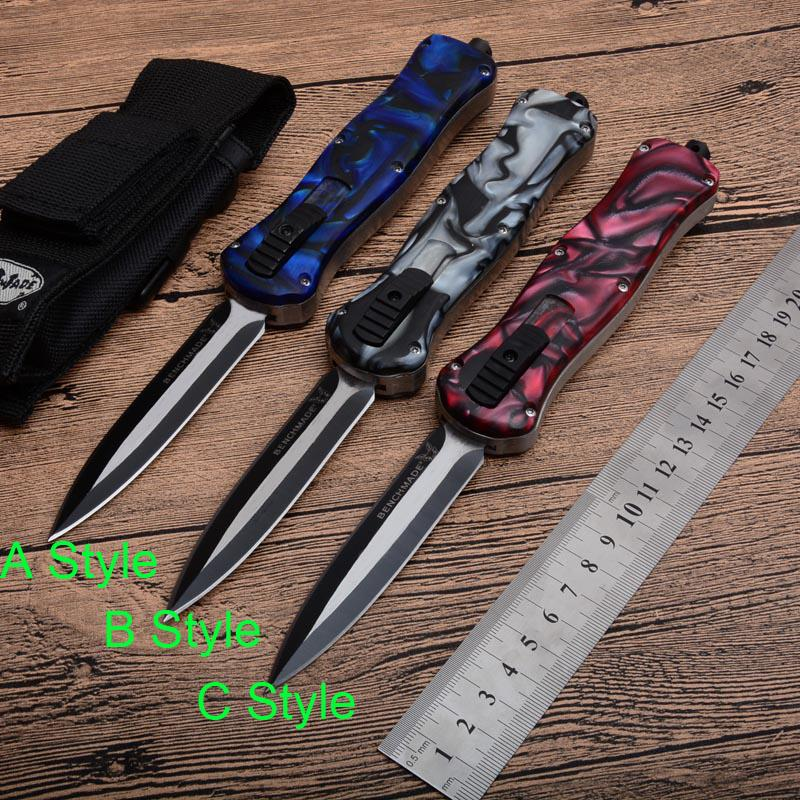 2019 New Benchmade Double Fine 440 57HRC Blade Double action Automatic Best  Tactical EDC tool Utility Gift Collect knife 3 Styles J84M Q