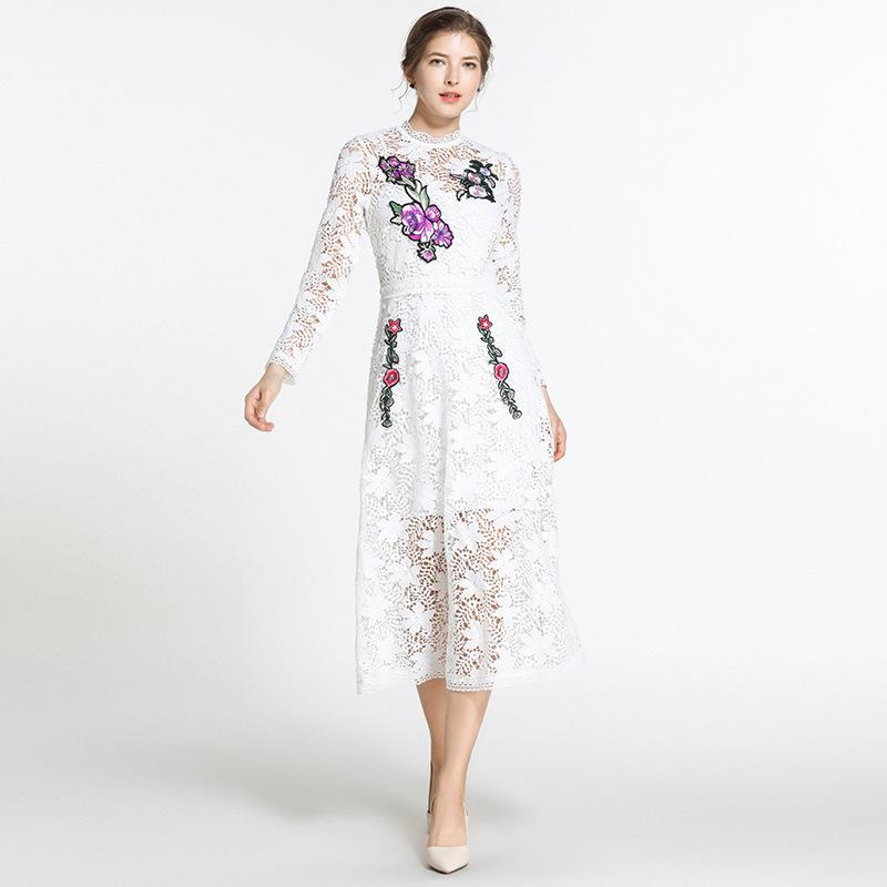 c1abd428ab4 2019 Embroidery Lace Long Dress for Women Party White Wedding ...