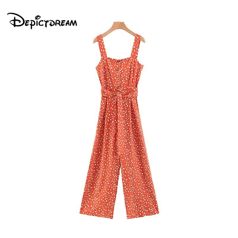 66d39ce21a60 2019 Women Chic Dots Print Long Jumpsuits Sashes Buttons Straps ...