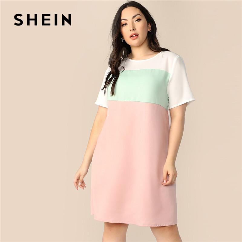 abb478499 SHEIN Plus Size Keyhole Back Color Block Tunic Summer Dress Women Casual  Round Neck Short Sleeve Midi Dress Loose Straight Party Long Dresses For  Women ...