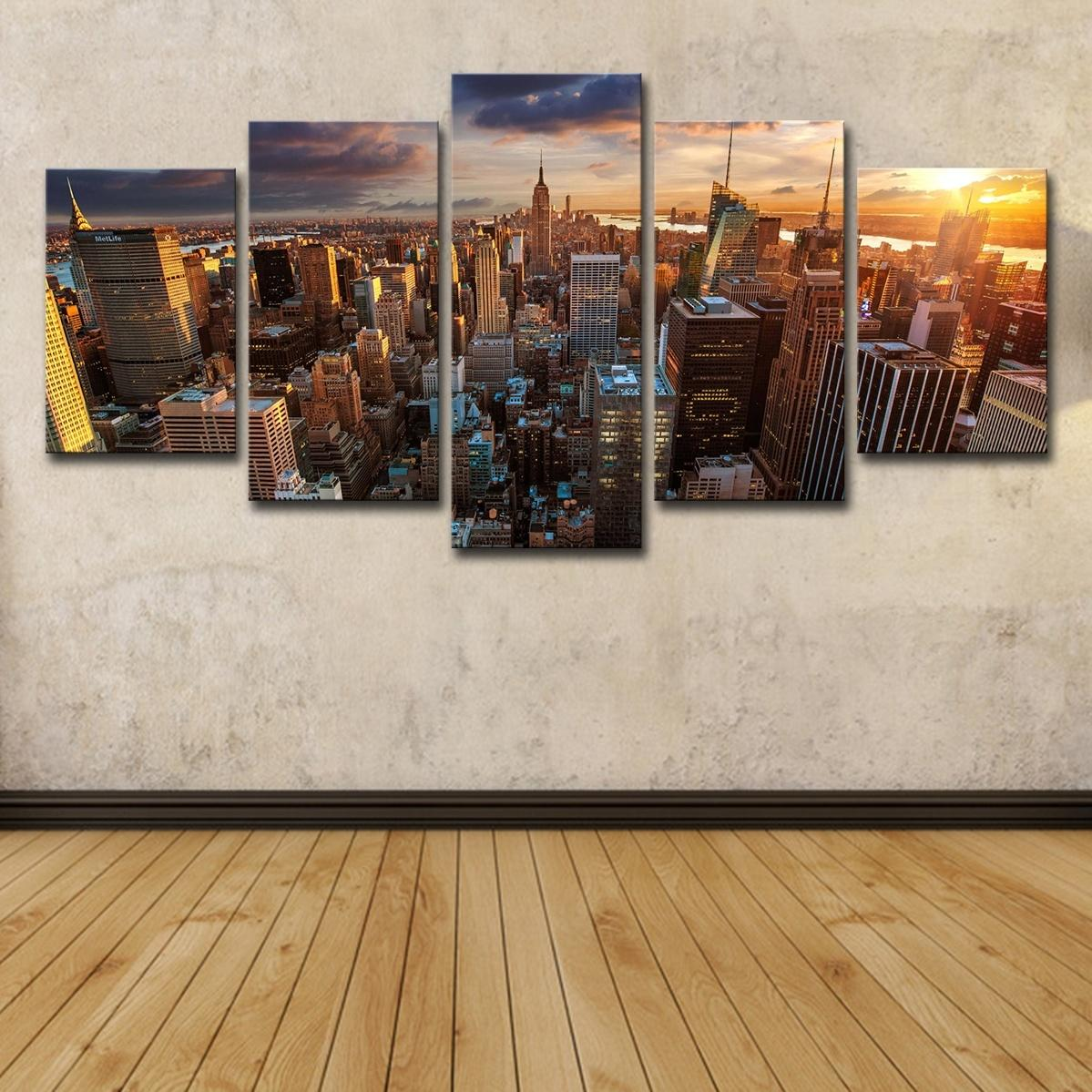 5pcs New York City Building Sunset Landscape Wall Art HD Print Canvas Painting Beach seaside Pictures Home Decor