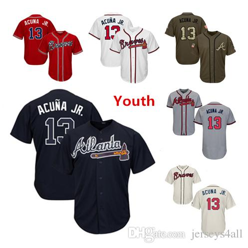 quality design aba24 a3a76 Youth Kids Child Atlanta Braves Baseball Jerseys 13 Ronald Acuna Jr Jersey  White Navy Blue Cream Red Gray Grey Green Salute