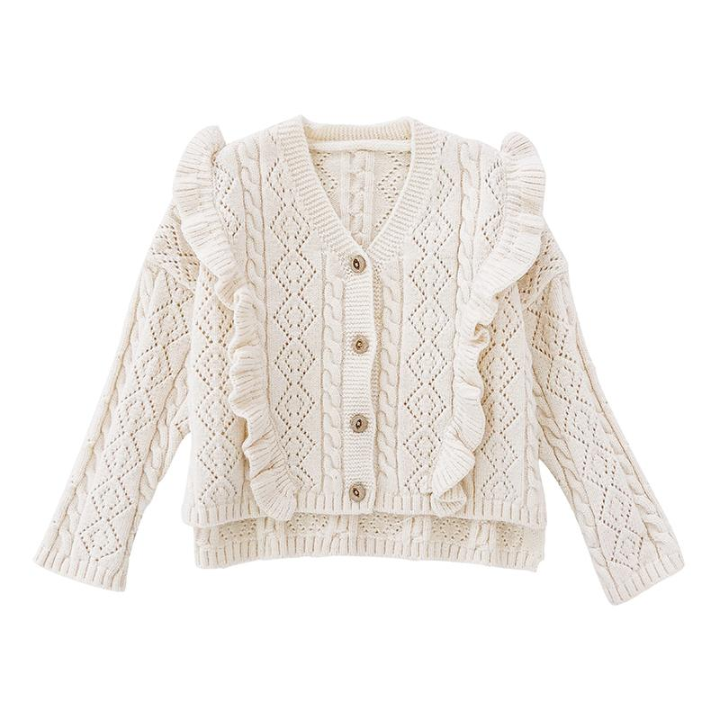 ed2f8fefd Toddler Girl Sweaters Ruffles V Necek 2018 Fall Winter Clothes Baby ...
