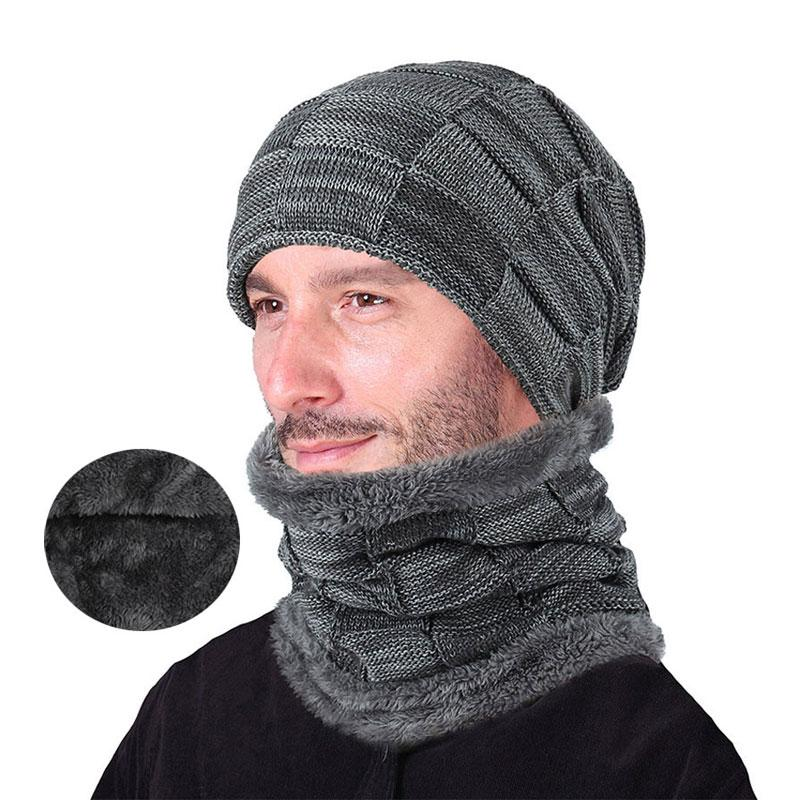 25000c4bb99 2019 Winter Men Hat And Scarf Set For Women Male Ring Scarves Cap Knit  Beanies Slouchy Hat Soft Stretch Cable Skullies Warm Suit From  Nicewatchnice