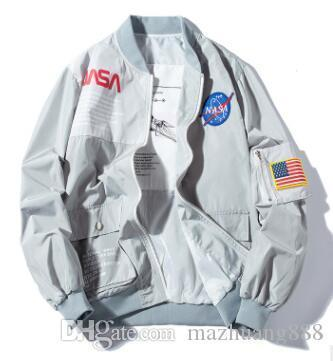 Brand New NASA Flight Pilot Mens Designer Jackets Casual MA1 Bomber Jacket Autumn Letter Printed Windbreaker Mens Outerwear