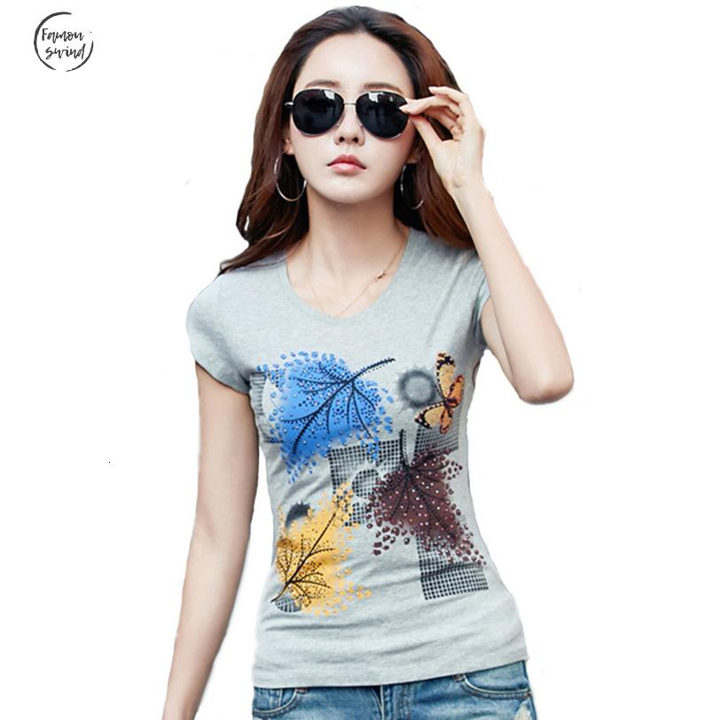 Casual T Shirt Summer Women Diamond Tops O Neck Tshirt Plus Size Casual Short Sleeve White Female Tees 100% Cotton