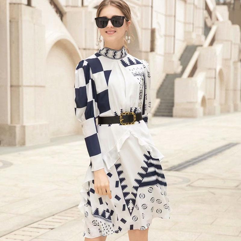 New Fashion Spring Dress 2019 Women's Brand Designer Runway Dress Long Sleeve Bow Tie Geometric Print Knee Length Casual
