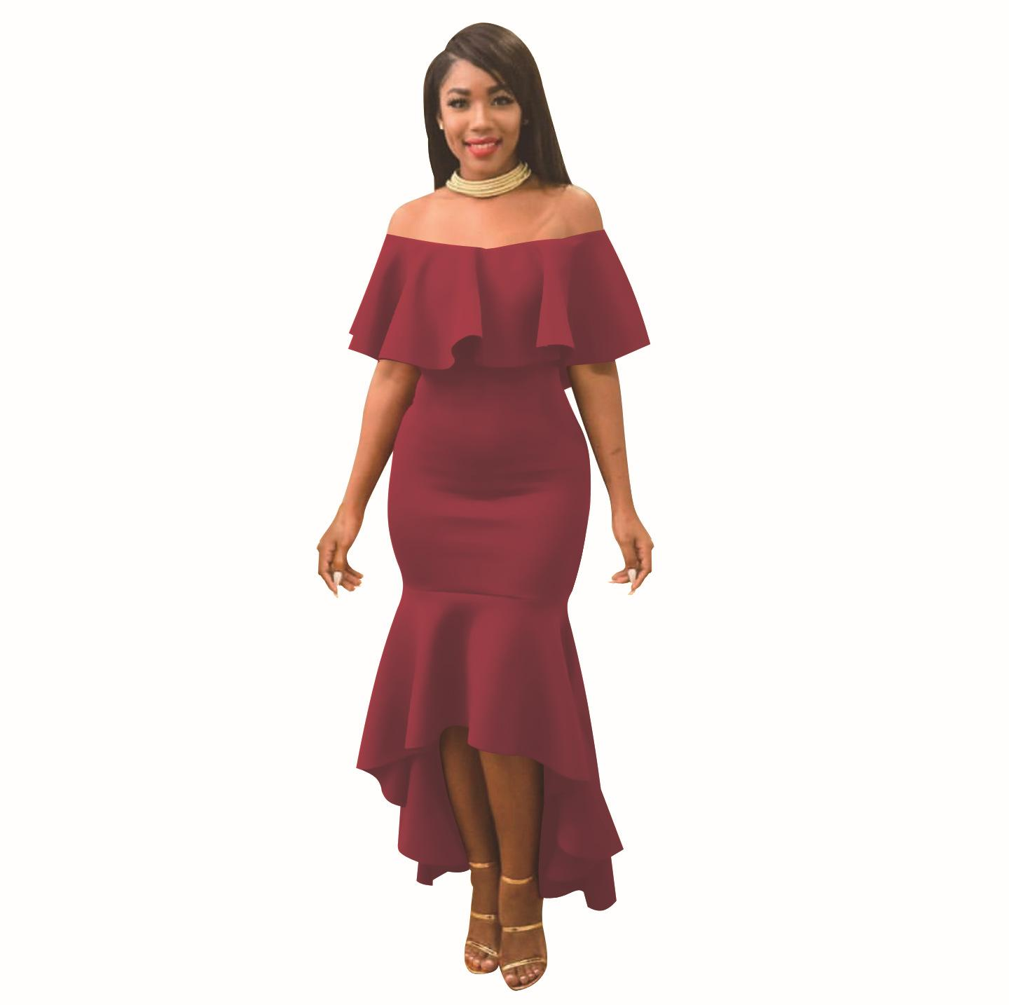 eda04d9ce50bc Women S Dress 2019 New Simple Ruffled Dresses Fashion One Shoulder Long  Skirt Multi Color Optional Size S XL Maxi Dress Red Dress From Larch