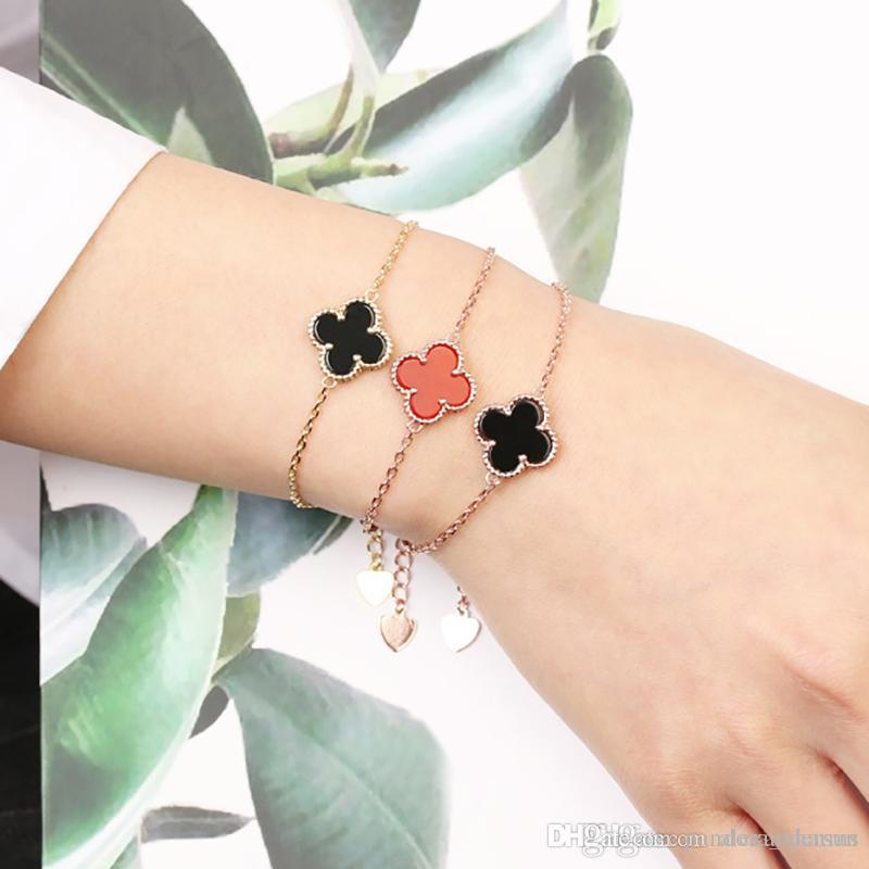 2019 silver top quality brass material and brand name mini flower pendant bracelet with nature stone for women wedding gift jewelry gift