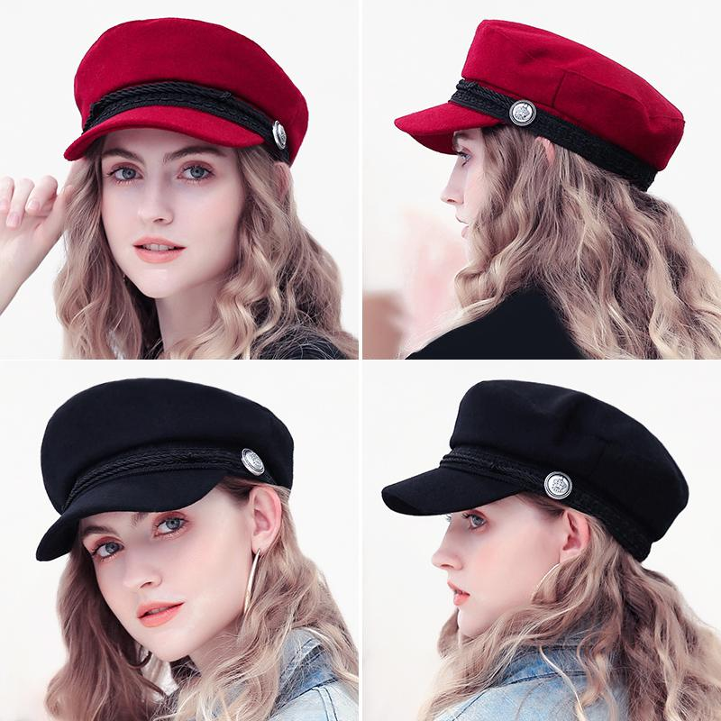 b1b563dd601 Winter Berets Hats For Women Octagonal Cap Wool Button Rope Visor Baseball  Caps Female Casual Streetwear Baker s Boy Hat Gorras Button Baseball Caps  Winter ...