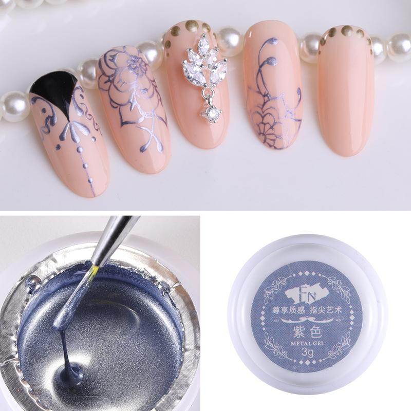 3g Metal Color Nail Art Painted Gel Nail Polish Drawing Glue Manicure Art Decoration