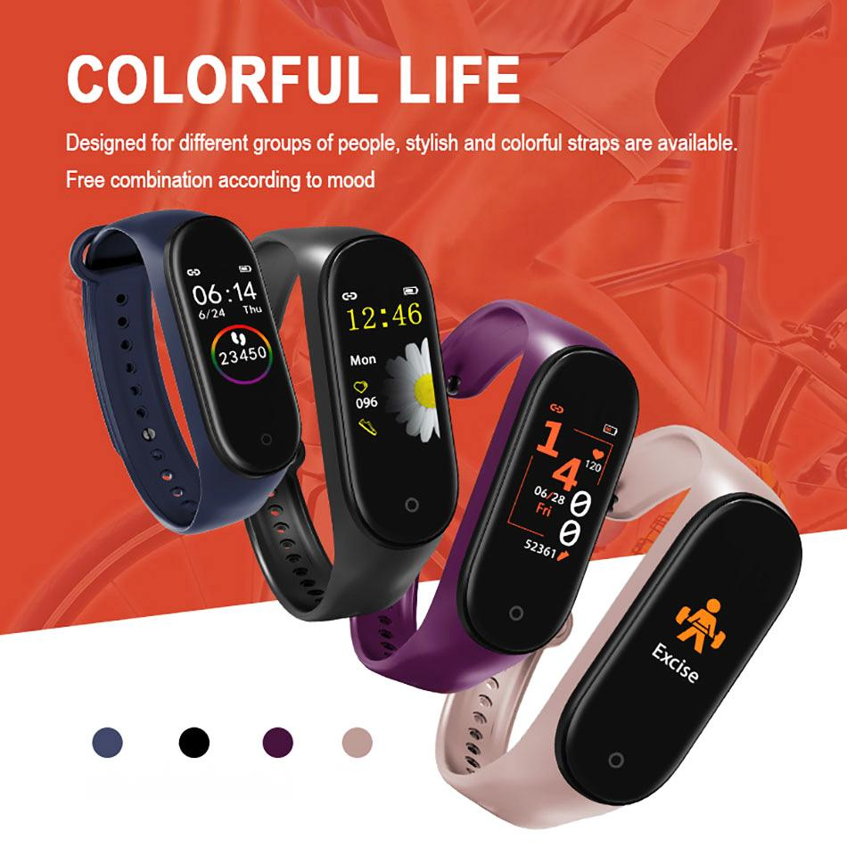 M4 Smart Bracelet Fitness Tracker with Heart Rate Blood Pressure Health Watch Band Sport Smart Watch for Cellphone with Box