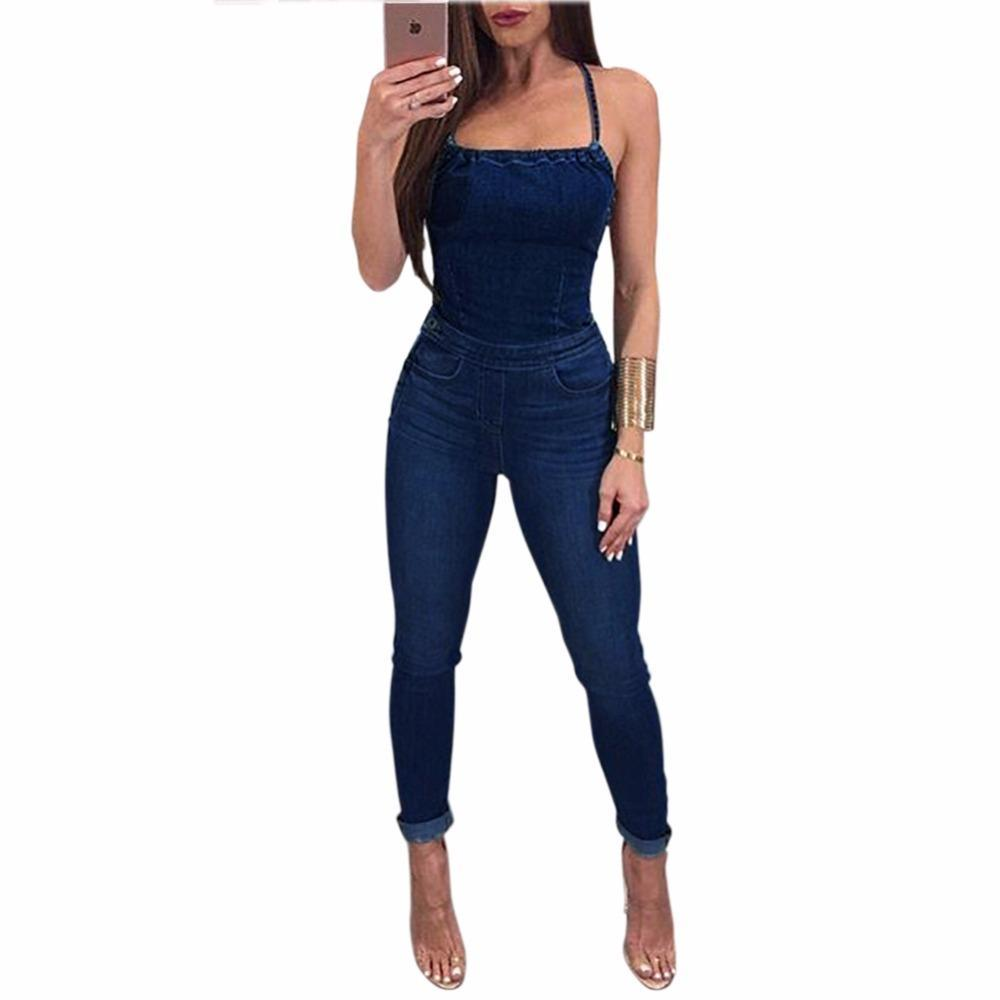 High quality Denim Jumpsuits Elegant Overalls Women Sleeveless Back Cross sexy Skinny Jeans Jumpsuit Long Pants Rompers Femme