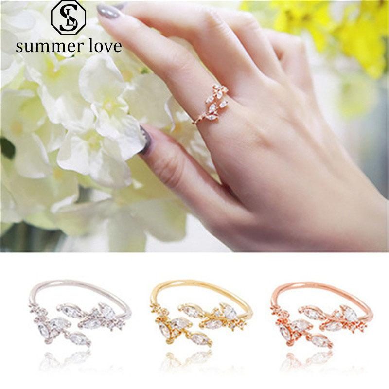 Simple Leaves Ring Fashion Copper Inlayed Zircon Opening Ring Silver Gold Rose Gold Adjustable Finger Ring for Women Girls Wedding Jewelry