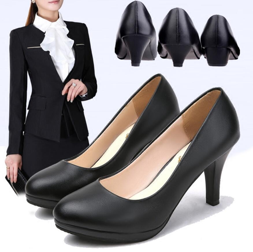 5d8189b349f Comfortable dress etiquette professional high heels black women's shoes  2018 single shoes with small leather work shoes