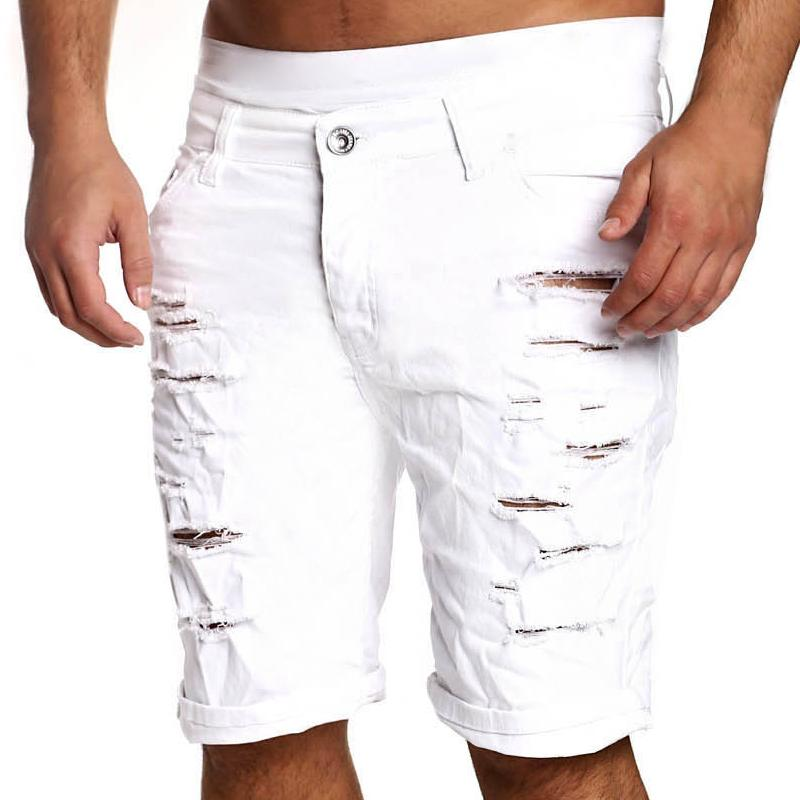 2019 Fashion Ripped Hole Denim Shorts Men Black White Slim Skinny