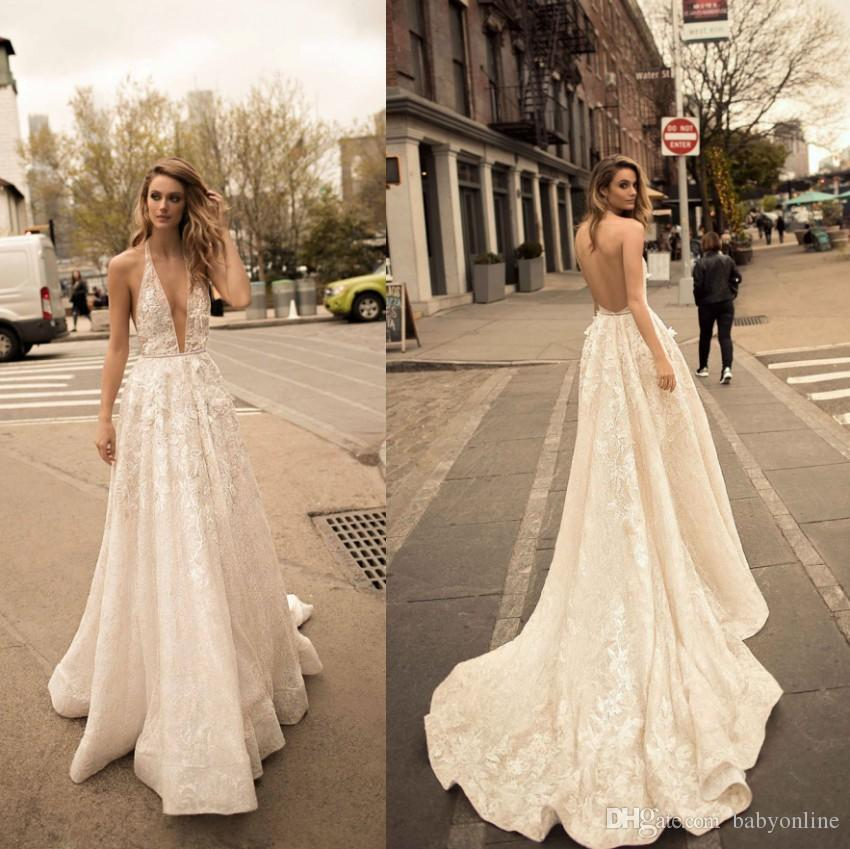 8aa3a7e473 Discount Newest Berta 2019 A Line Wedding Dresses Summer Bohemian Deep V  Neck Lace Appliques Sexy Open Back Boho Bridal Gowns Vintage Wedding Gowns  Wedding ...