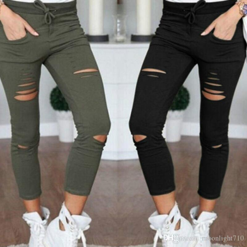 bae6d27bd9 New Skinny Jeans Women Denim Pants Holes Destroyed Knee Pencil Pants ...