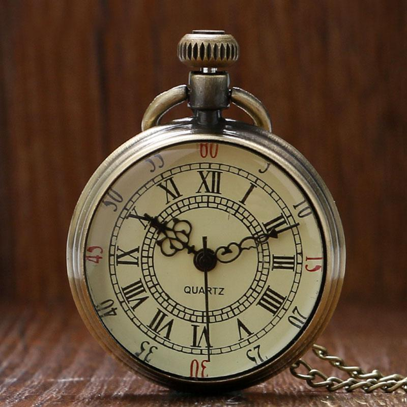 atches Pocket Fob Watches Vintage Simple Style Steampunk Beige Dial Roman Numbers Small Pocket Watch Necklace Pendant with Chain Reloj De...