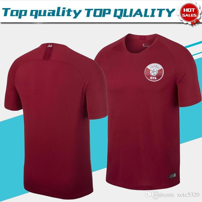 Corta Camisa Qatar Sc Fútbol Uniforme Camisetas 1819 Rojo Manga Roja 2018 Casa De Hombres n0myvN8wO