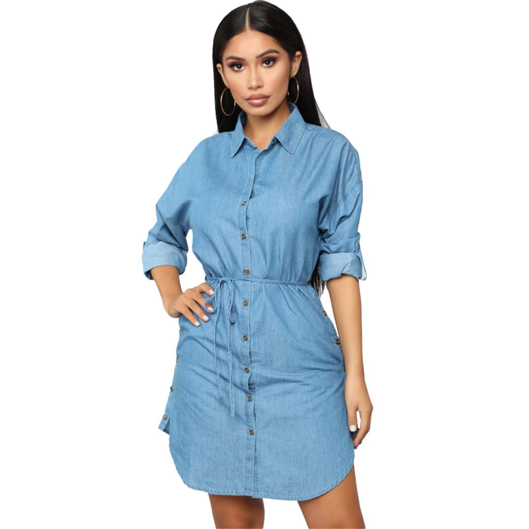 Women Spring Shirt Dresses Fashion Denim Blue Single Breasted Mini ... d60b13141cad