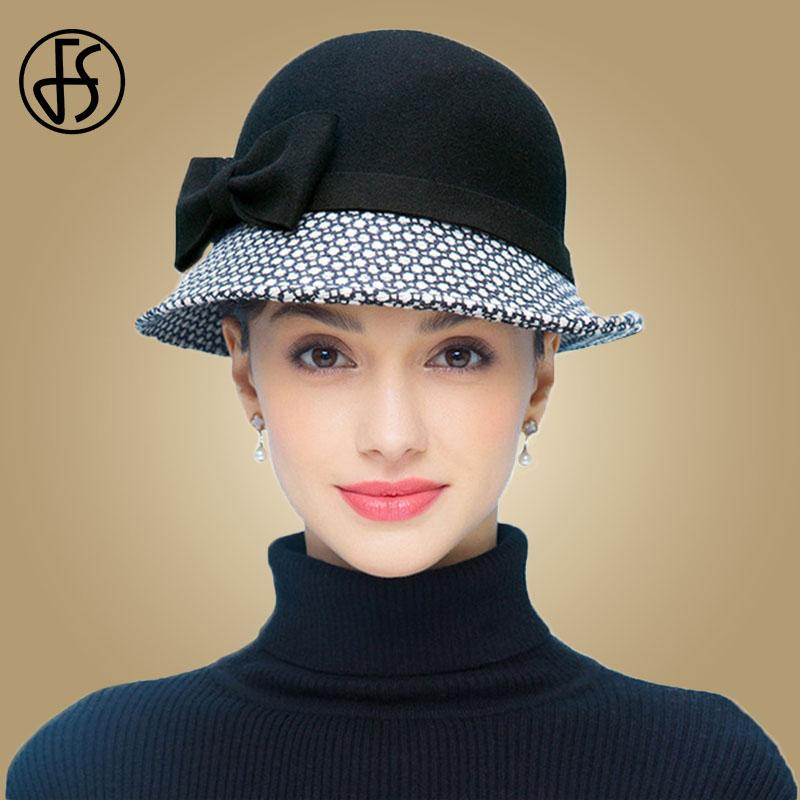 d2459909f2c 2019 FS Vintage Winter 100% Wool Black Felt Fedora With Plaid For Women  Elegant Hat Ladies Floppy Wide Curl Brim Bow Cloche Hat Cap From Alley66,  ...