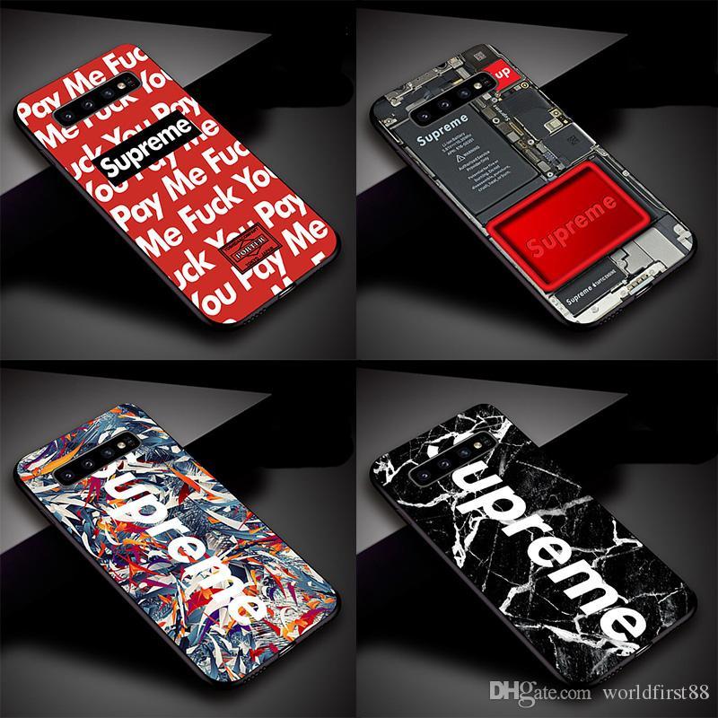 super popular c296c 3653e Popular Brand SUP Designer Phone Case For Samsung Galaxy S7 S8 S9 S10 Plus  Case Cover Silicone Soft Phone Case