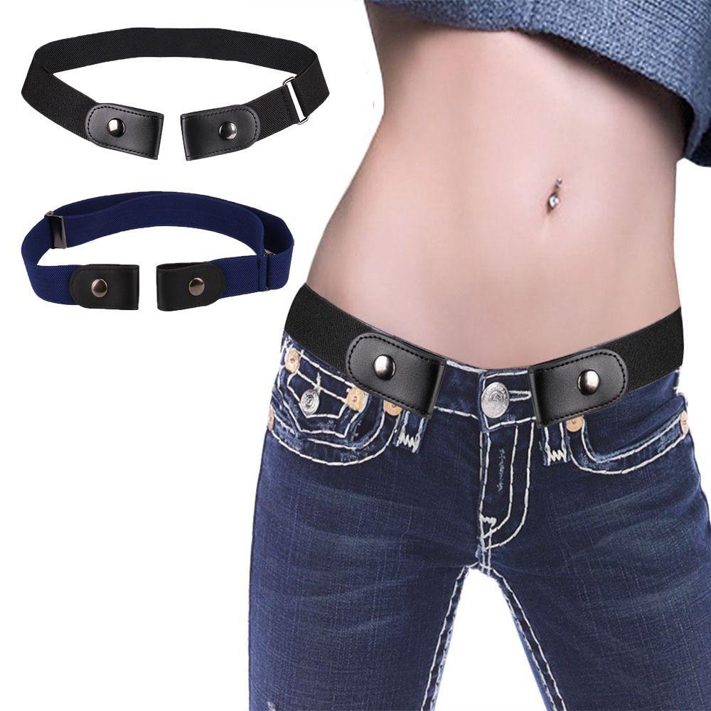 Compre Moda Para Mujer Sin Hebilla Elástico Estiramiento Cintura Punk  Cinturón Invisible Harajuku Lienzo Cinturones De Cuero Para Jeans Vestidos  Unisex A ... fa7021268398
